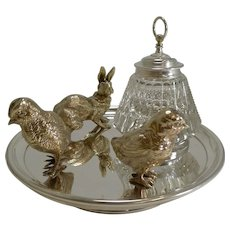Magnificent Antique English Inkwell / Rabbit and Chicks c.1890