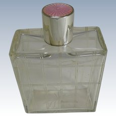 Large Sterling Silver and Guilloche Enamel Topped Cologne / Scent Bottle