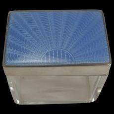 Art Deco Silver & Guilloche Enamel Lidded Glass Box
