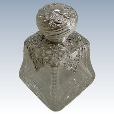 Large Antique English Cut Crystal and Sterling Silver Perfume Bottle - 1898
