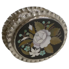 English Sterling Silver Pill Box Inlaid With Italian Pietra Dura - 1900