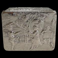 Unusual Antique English Silver Box - Figural Scene - London 1891