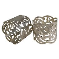 Fine Pair Antique English Sterling Silver Napkin Rings - 1906