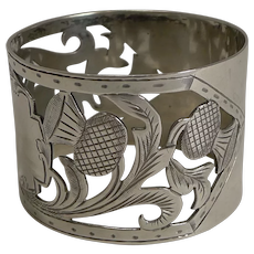 Antique English Sterling Silver Napkin Ring - Scottish Thistles - 1905