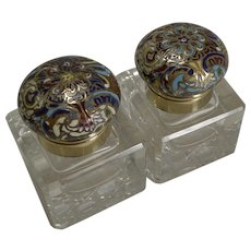 Pair Unusual Antique English Inkwells - Cloisonne - Enamel c.1870