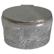 Stunning Vintage English Cut Crystal and Silver Plate Biscuit Box - 1929