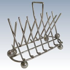 Antique English Golf Toast Rack / Letter Holder in Silver Plate