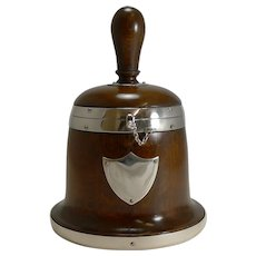 Rare Antique English Bell Shaped Oak and Silver Plate Biscuit Box c.1890