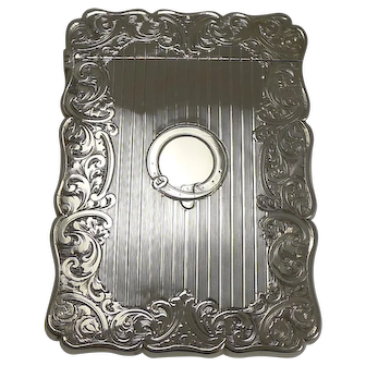 Antique English Sterling Silver Card Case - 1857