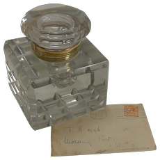 Huge Antique English Cut Crystal Inkwell c.1890