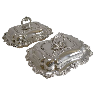 Fine Pair Antique English Entree Dishes in Silver Plate by Walker and Hall