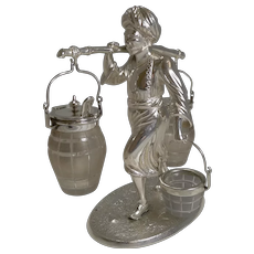 Superb Antique English Figural Table Cruet - Asian Man - Registered 1871