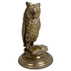 Finest Large Antique Austrian Brass Novelty Inkwell - Reading Owl c.1890