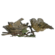 Charming Antique Austrian Cold Painted Bronze - Birds and Birds Nest c.1900