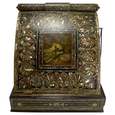 Fabulous Antique English Mother of Pearl Inlaid Papier Mache Writing box c.1880