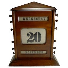 "Oversized Antique English Mahogany Perpetual Calendar c.1900 - 12"""