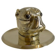 Grand English Bulldog Novelty Inkwell With Glass Eyes c.1880