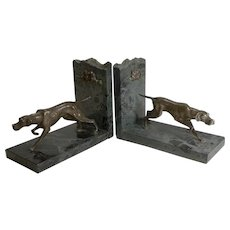 Pair English Vintage Granite and Spelter Dog Bookends - Pointer