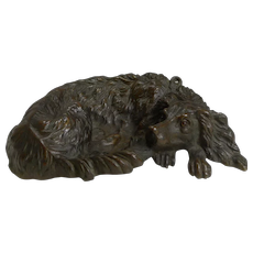 Charming Antique Bronze Vide Poche / Dish - Dog With Glass Eyes