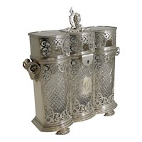 Heirloom Quality Three Bottle Decanter Box / Tantalus by Philip Ashberry c.1870