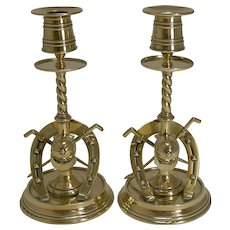 Handsome Pair Antique Novelty Equestrian Candlesticks c.1890