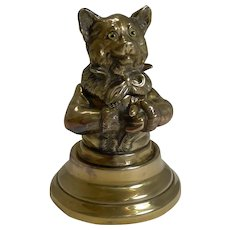 Stunning Antique English Brass Novelty Inkwell - Cat c.1880