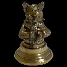 Stunning Antique English Brass Novelty Inkwell - Cat c.1880