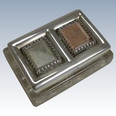 Fine Antique English Cut Crystal and Sterling Silver Double Postage Stamp Box - 1902