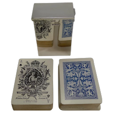 English Victorian Sterling Silver Playing Card Box With Complete Original Cards - 1899