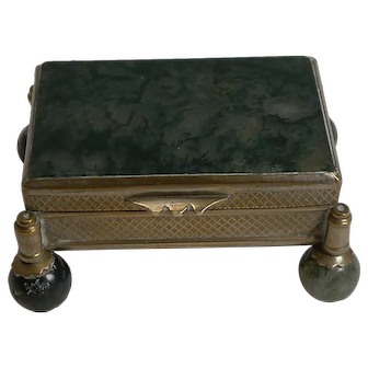 Antique French Moss Agate Box c.1900