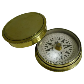 Antique English Brass Cased Floating Card Explorers Pocket Compass c.1880