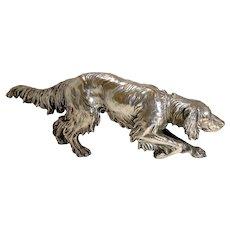 Magnificent Antique Figural Silver on Copper Dog - Spaniel