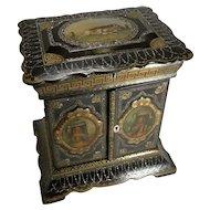 Magnificent English Papier Mache Jewelry Cabinet / Box c.1860 - Dogs