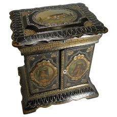 Magnificent English Papier Mache Jewelry Cabinet / Box c.1860 - Dogs