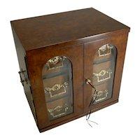 Magnificent Large Antique English Walnut Cigar Cabinet / Box / Humidor c.1890