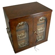 Magnificent Large Antique English Walnut Cigar Cabinet / Box / Humidor c.1890