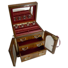 Fine Large Antique English Jewellery Box With Cut Crystal Perfume Bottles c.1900