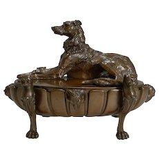 Magnificent English Regency Cast Bronze Desk Inkwell / Compendium - Lurcher c.1820