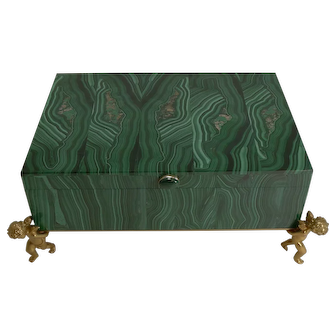 Fine Vintage Malachite Intarsia Box with Gilded Bronze Cherubs
