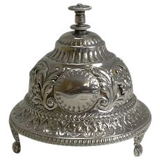 Antique English Sterling Silver Mechanical Table Bell - 1889