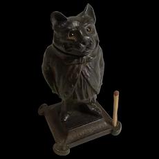 Antique German Cast Iron Novelty Go-To-Bed Match Striker - Cat