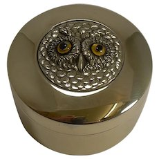 Antique English Brass Box - Owl With Glass Eyes c.1900