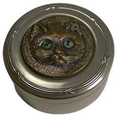 Antique Nickel Box - Brass Cat With Glass Eyes c.1900