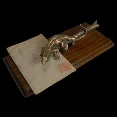 Antique English Novelty Letter Clip c.1890 - Lizard