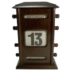 Antique English Oak Perpetual Desk Calendar c.1900 - Signed by Retailer
