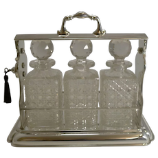 Large Antique English Three Bottle Tantalus by Mappin and Webb c.1900