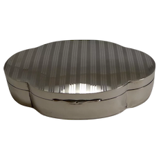 Solid Antique English Shaped Sterling Silver Box - 1918