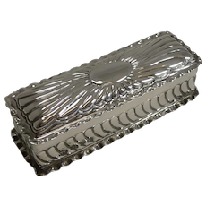 Antique English Sterling Silver Ring Box For Three Rings - 1898