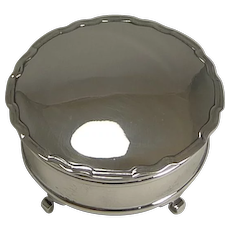 English Sterling Silver Jewelry / Ring Box - 1920 by Walker and Hall