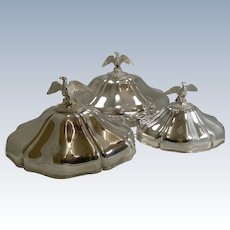 Finest Set Graduated Meat / Platter Covers or Domes by Durand, Paris, c.1840 - Eagles